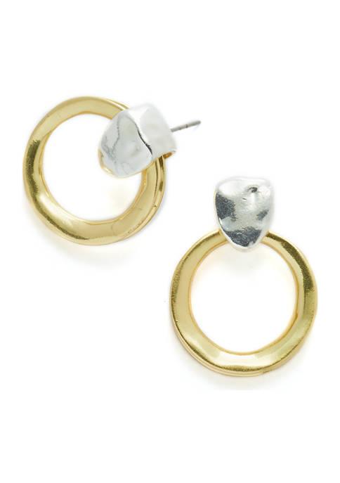 Two Tone Ring Drop Earrings