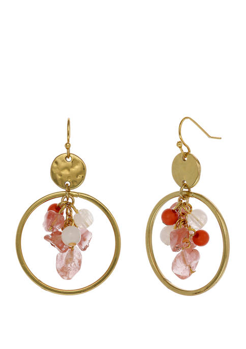 Gold Tone Ring Drop Earrings with Center Beaded Cluster