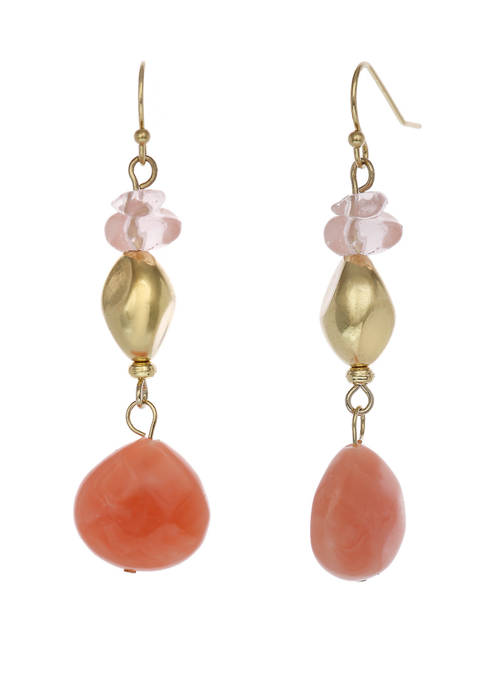 Gold Tone Drop Earrings with Cherry Quartz Beads