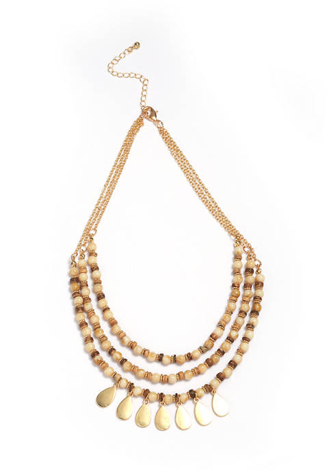 Gold Tone 3 Row Beaded Necklace with Teardrops