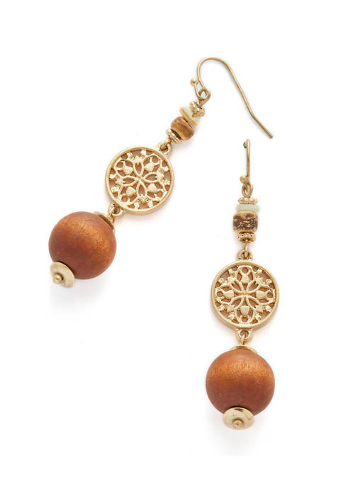 New Directions® Gold Tone Filigree and Wood Bead