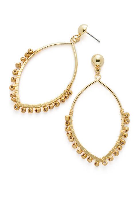 Gold Tone Teardrop Earrings with Gold Seedbead Accents