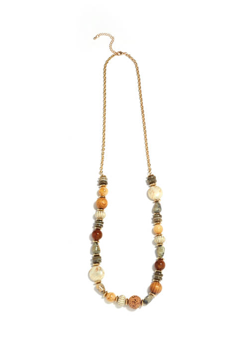 Gold Tone Long Beaded Necklace