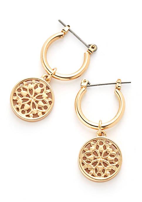 Gold Tone Hoop Earrings with Filigree Drop