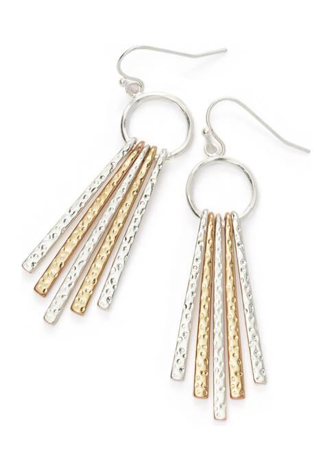 Two-Tone Linear Stick Drop Earrings