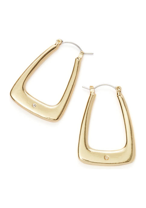 Gold-Tone Square Hoop Earrings