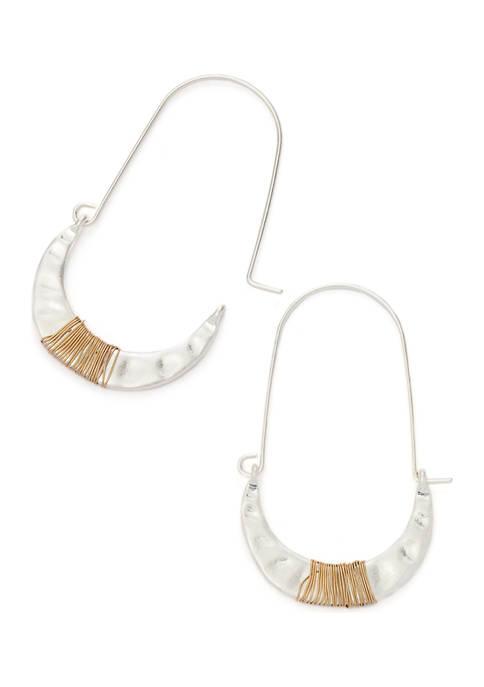 Two-Tone Half Moon Earrings