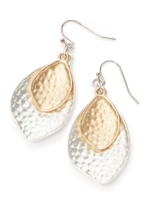 Two-Tone Hammered Petal Earrings