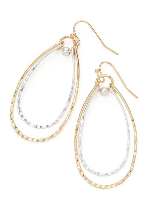 Two Tone Hammered Teardrop Earrings