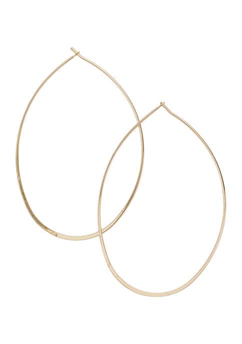 Gold Tone Oval Wire Hoop Earrings