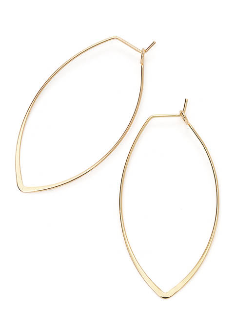Gold-Tone Thin Teardrop Earrings