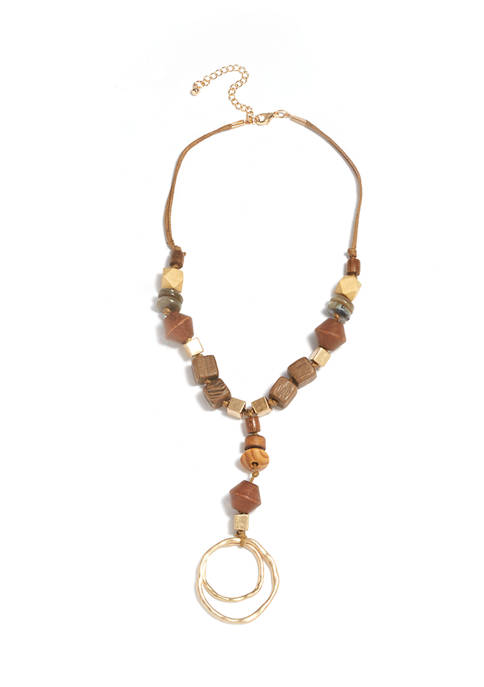 Gold Tone Beaded Y Necklace