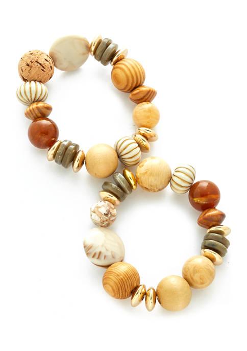 Gold Tone 2 Piece Wood and Acrylic Bead Stretch Bracelets