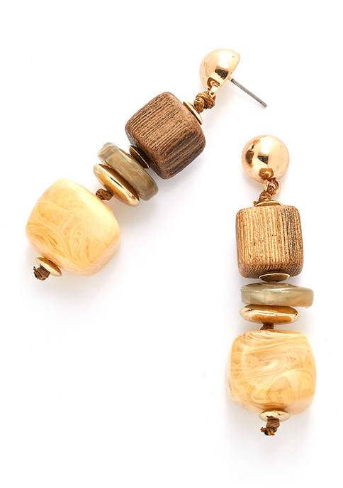 Gold Tone Linear Earrings with Square Beads