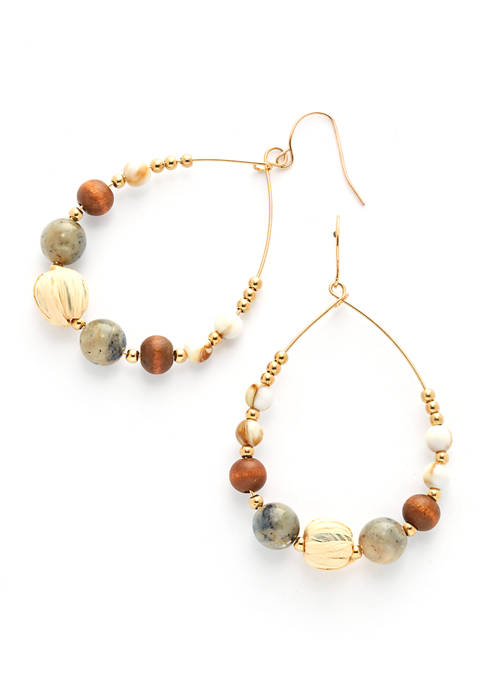 Gold Tone Teardrop Earrings with Wood and Acrylic Beads