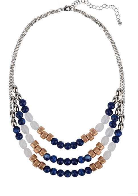 Belk Silver Tone and Assorted Blue Bead Layered