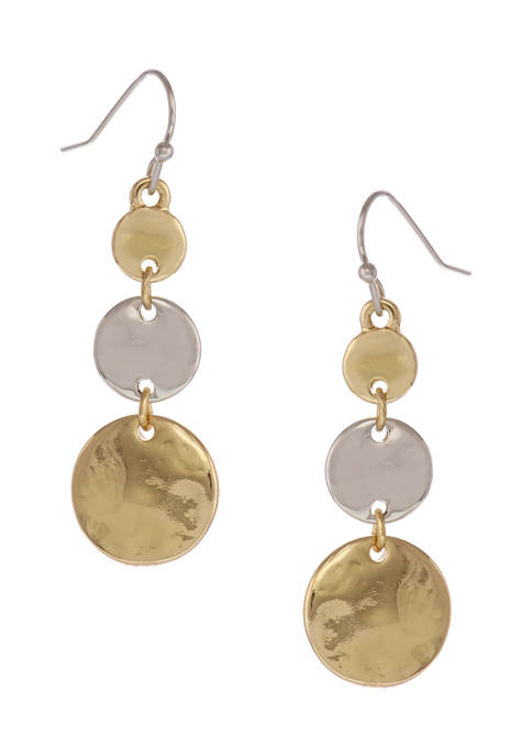 New Directions® Two-Tone 3 Disc Linear Drop Earrings