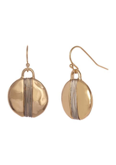 New Directions® Gold Tone Small Disc Drop Earrings