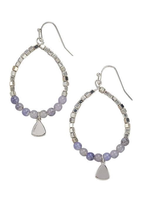 Belk Silver Tone Beaded Teardrop Earrings with Blue