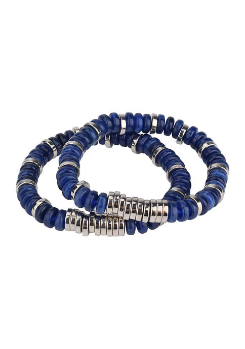 Belk Silver Tone and Blue Bead Set of