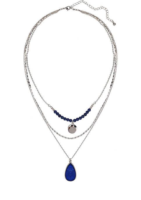 Belk Silver Toned Blue Semi Precious Teardrop Stone