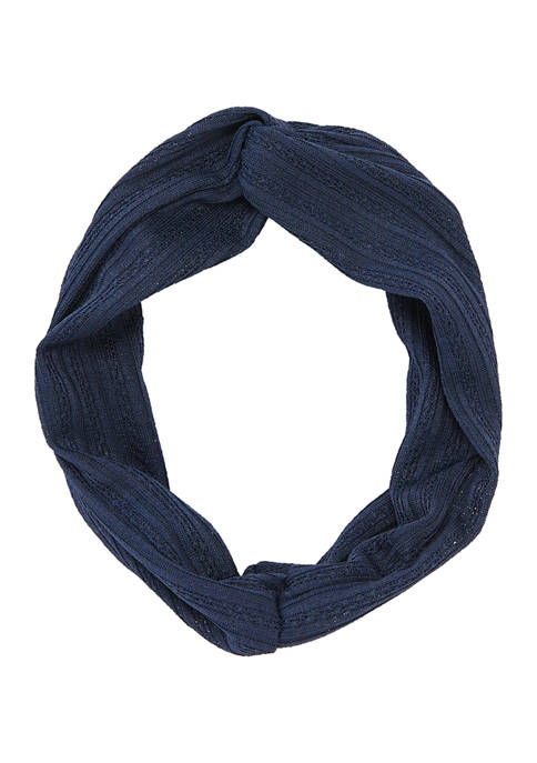 Navy Textured Knotted Top Headwrap
