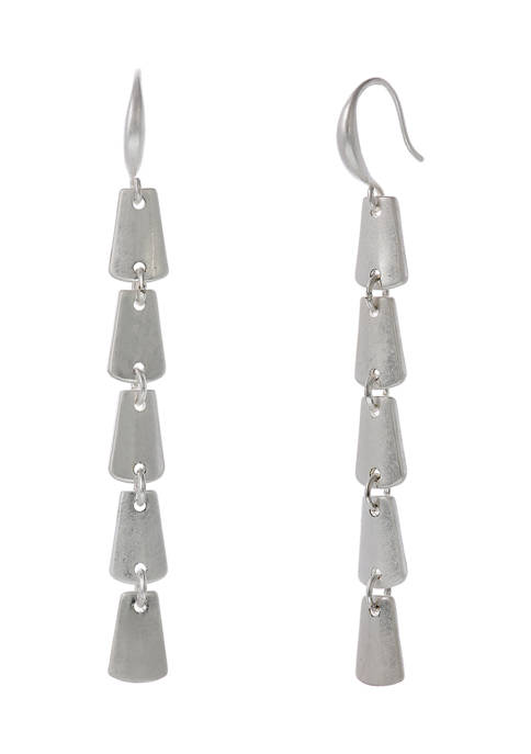 Silver Tone Linear Earrings