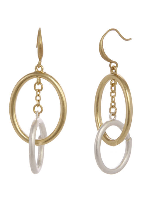 Two Tone Interlocking Ring Drop Earrings