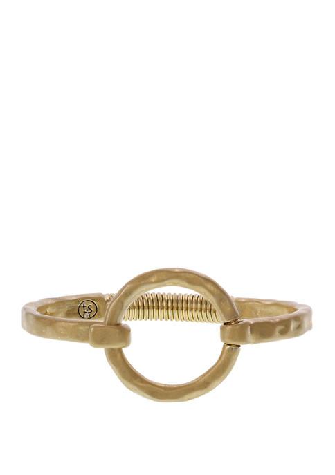 Gold Tone Hook & Eye Bangle Bracelet