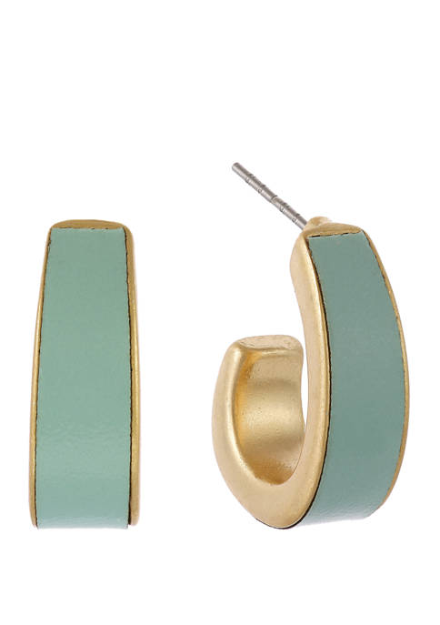 Gold Tone Tapered Hoop Clip Earrings with Mint Leather Inlay