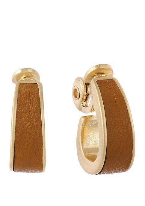 Gold Tone Tapered Hoop Clip Earrings with Brown Leather Inlay