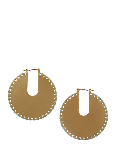Gold Tone Large Hoop Disc Earrings with Mint Thread