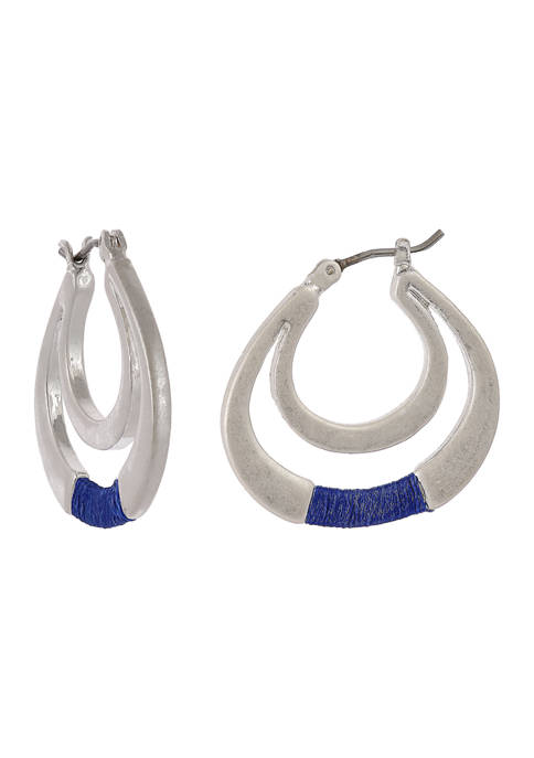 Silver Tone Double Hoop Earrings with Blue Thread Wrapping