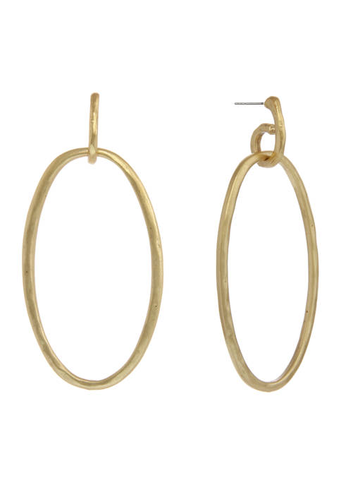 Gold Tone Post Oval Ring Earrings