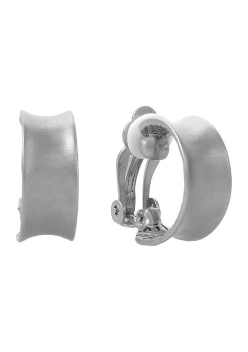 Silver Tone Small Clip Hoop Earrings