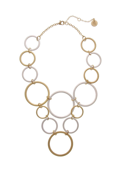 Two Tone Open Circle Statement Necklace