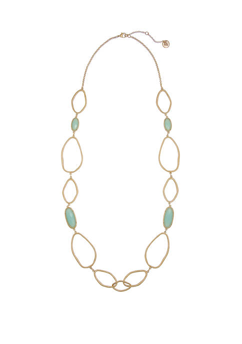 Gold Tone Long Link Necklace with Facted Mint Cabs