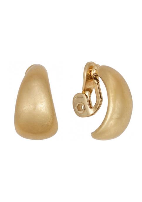 Gold Tone Button Clip Earrings
