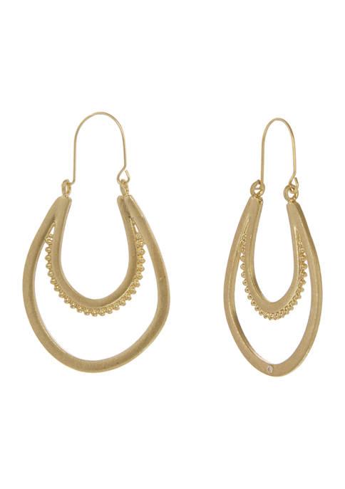 Gold Tone U Hoop Earrings
