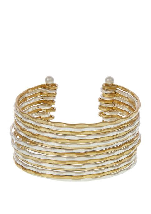 Two Tone Multi Row Cuff Bracelet
