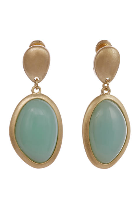 Gold Tone Clip Drop Earrings with Mint Stone