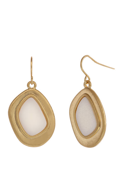 Gold Tone Oval Drop Earrings with MOP Center
