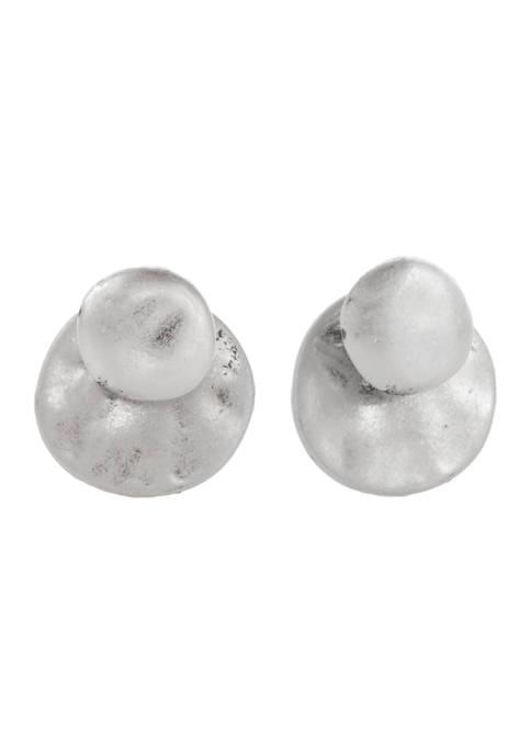 Silver Tone Button Earrings
