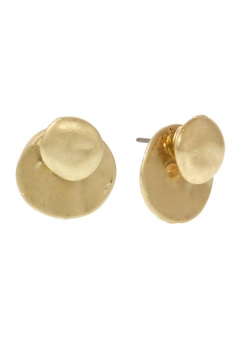 Gold Tone Button Earrings