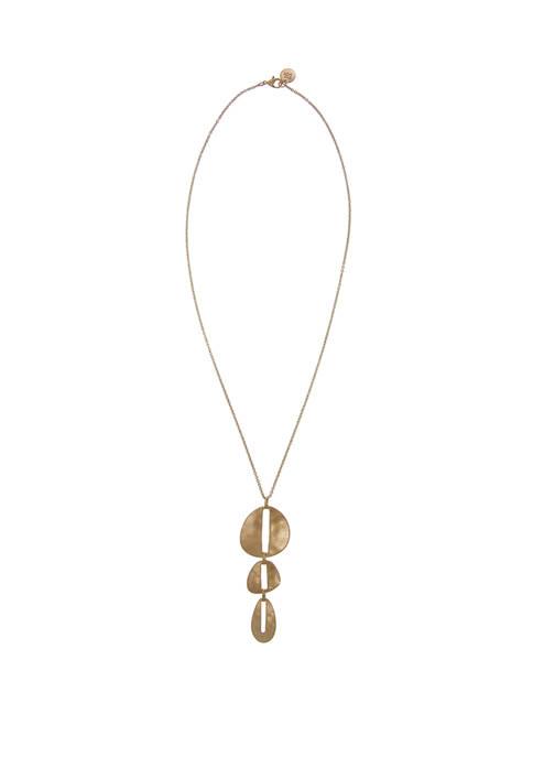 Gold Tone 3 Disc Pendant Necklace