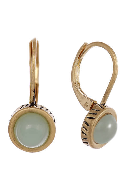 Gold Tone Lever Back Earrings with Mint Stone