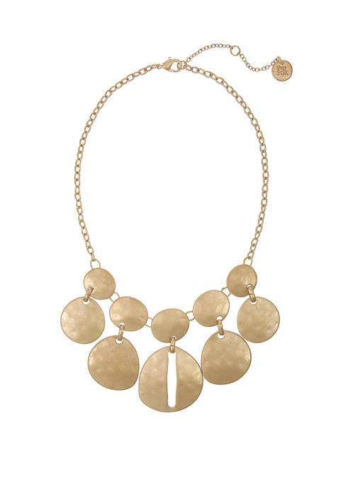 Gold Tone Hammered Disc Statement Necklace