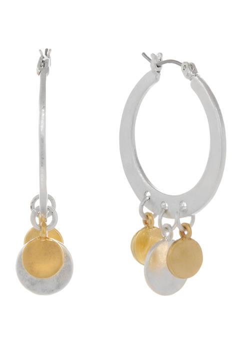 Two Tone Hoop Earrings with Disc Drops