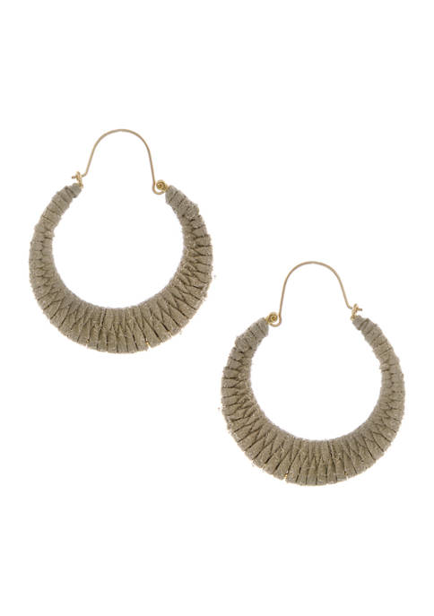 Gold Tone Hoop Earrings Wrapped with Beige Cording