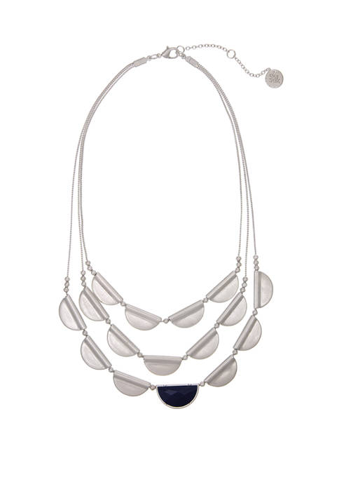 Silver Tone 3 Row Casted Layered Necklace
